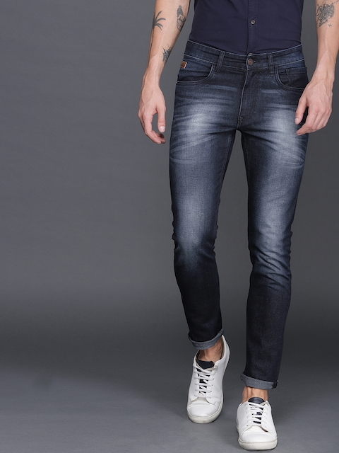 WROGN Men Navy Blue Slim Fit Mid-Rise Clean Look Stretchable Jeans