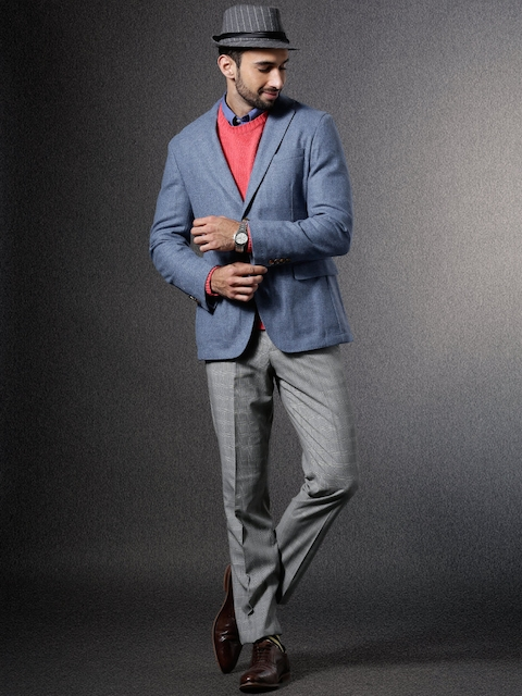 Brooks Brothers Blue Single-Breasted Woollen Smart Casual Blazer