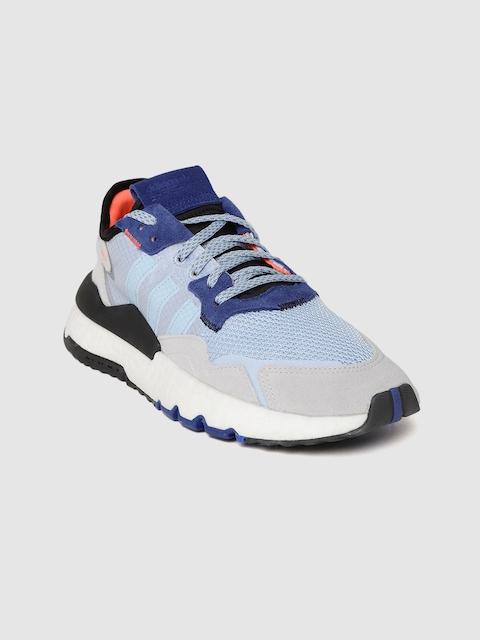 ADIDAS Originals Women Blue & Grey Woven Design Nite Jogger Sneakers