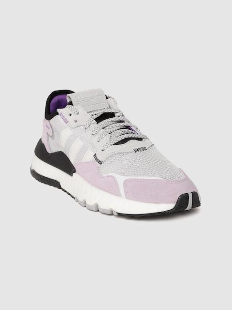ADIDAS Originals Women Grey & Lavender Woven Design Nite Jogger Sneakers