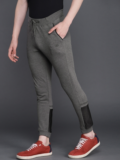 WROGN Men Charcoal Grey Slim Fit Solid Joggers