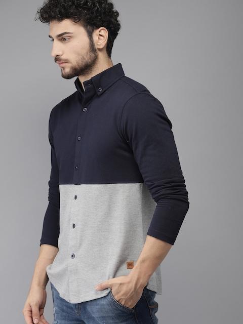 Campus Sutra Men Navy Blue & Grey Standard Fit Colourblocked Casual Shirt 3