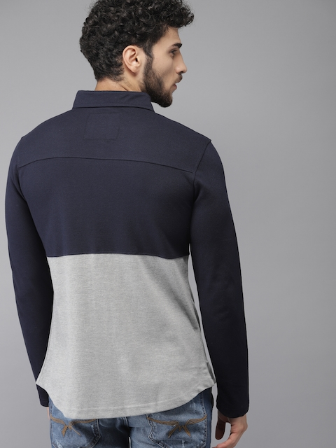 Campus Sutra Men Navy Blue & Grey Standard Fit Colourblocked Casual Shirt 4