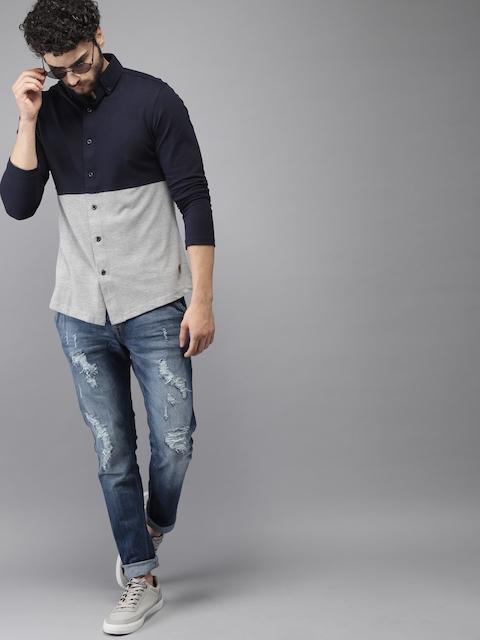 Campus Sutra Men Navy Blue & Grey Standard Fit Colourblocked Casual Shirt 5