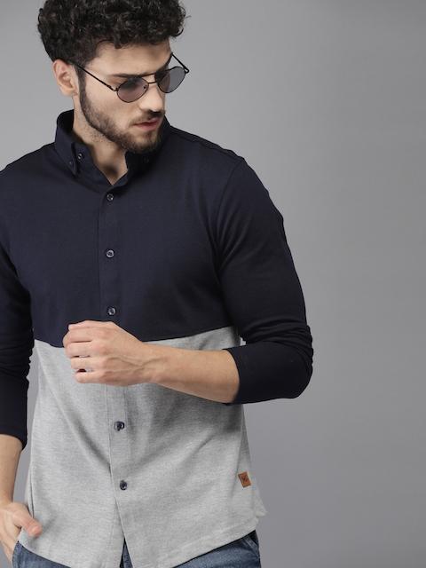 Campus Sutra Men Navy Blue & Grey Standard Fit Colourblocked Casual Shirt 1