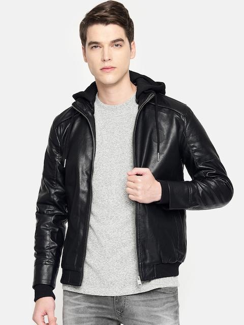 Being Human Clothing Men Black Solid Hooded Bomber Jacket