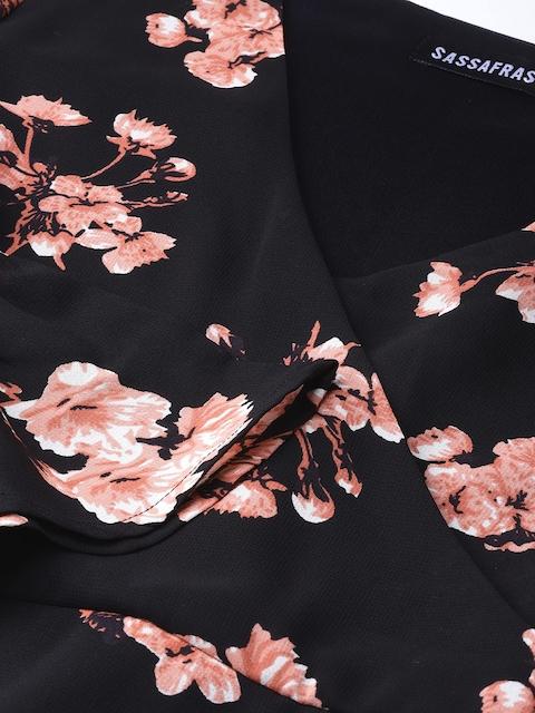 SASSAFRAS Women Black & Pink Printed Wrap Dress 2