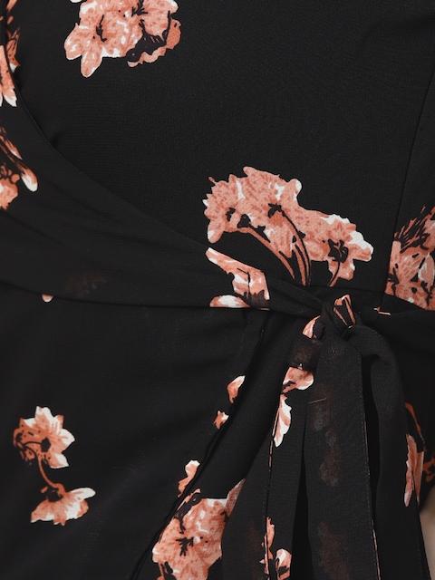 SASSAFRAS Women Black & Pink Printed Wrap Dress 6