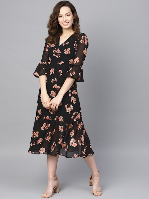 SASSAFRAS Women Black & Pink Printed Wrap Dress 1