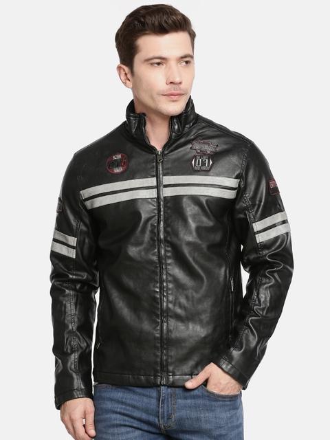 Being Human Men Black Solid Biker Jacket