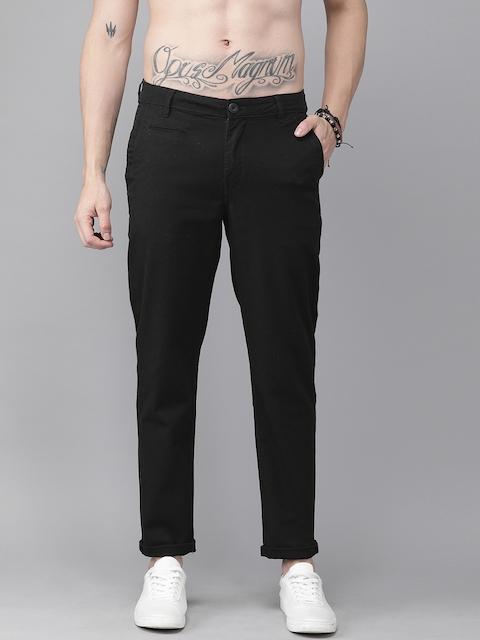 Roadster Men Black Regular Fit Solid Regular Trousers 1