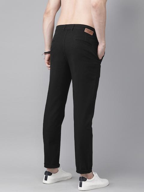 Roadster Men Black Regular Fit Solid Regular Trousers 3