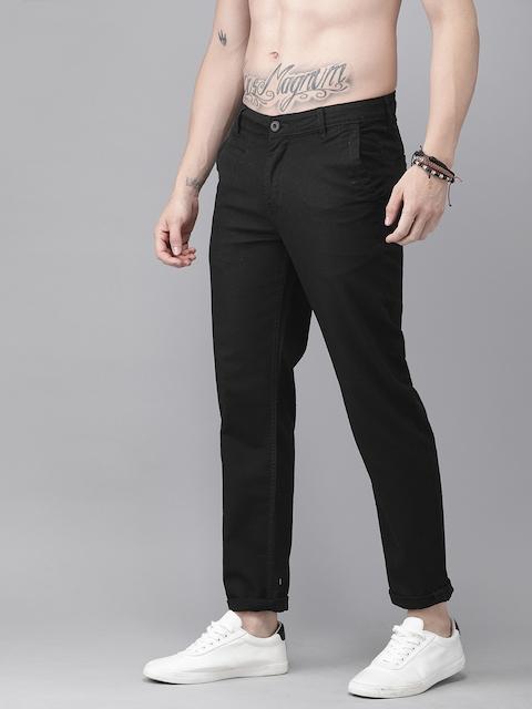 Roadster Men Black Regular Fit Solid Regular Trousers 2
