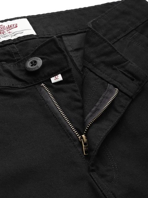 Roadster Men Black Regular Fit Solid Regular Trousers 5