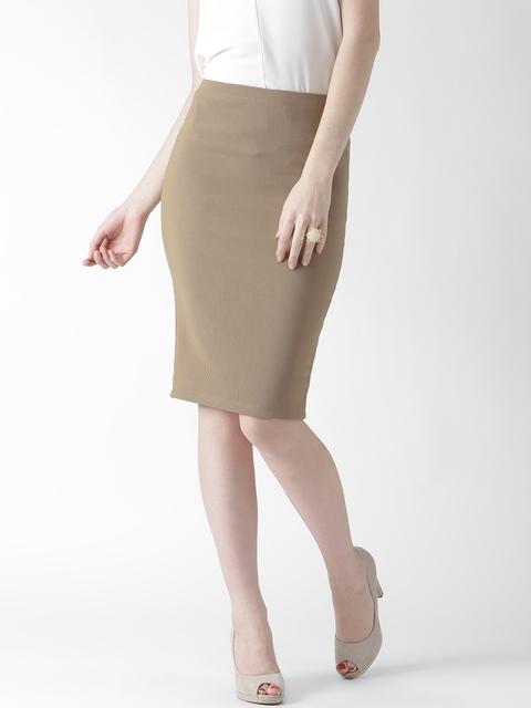 Buy FOREVER 21 Light Brown Self Striped Pencil Skirt - Skirts for ...