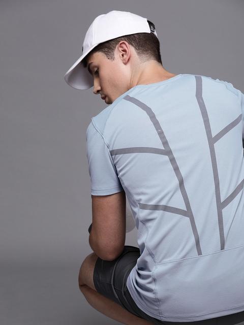 WROGN ACTIVE Men Blue & Grey Back Printed Round Neck...