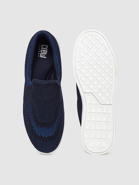 Crew STREET Women Navy Blue Woven Design Sneakers 4