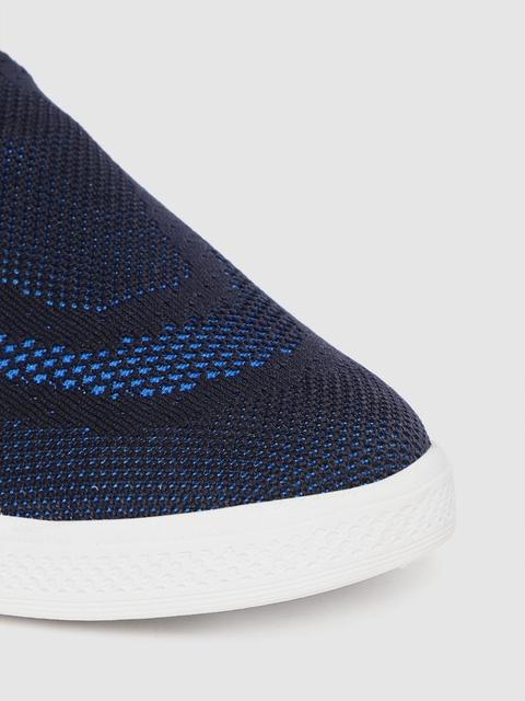 Crew STREET Women Navy Blue Woven Design Sneakers 5
