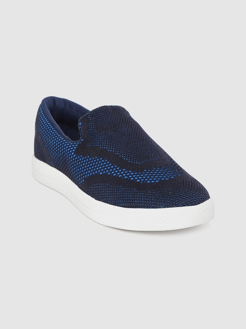 Crew STREET Women Navy Blue Woven Design Sneakers 1