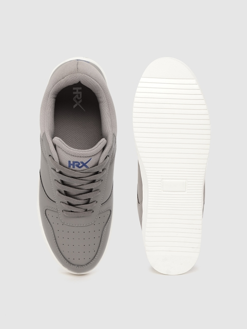 HRX by Hrithik Roshan Men Grey Perforated Skate Street Sneakers 4
