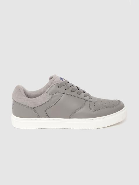 HRX by Hrithik Roshan Men Grey Perforated Skate Street Sneakers 3