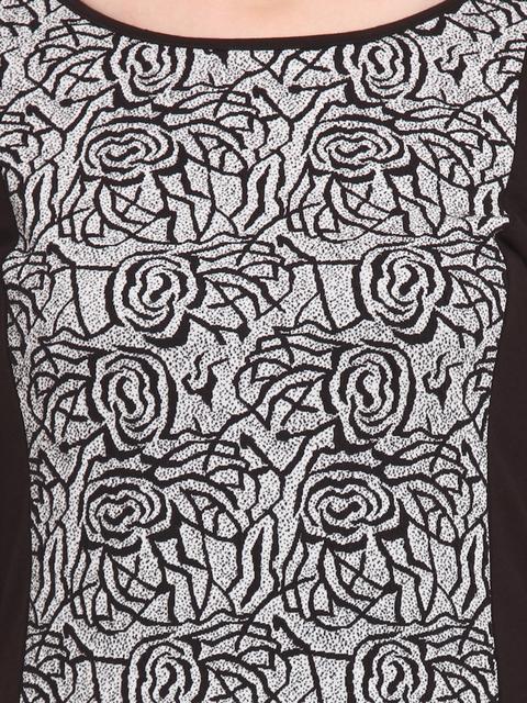 Bella-Rosa-Black-&-White-Floral-Print-Sheath-Dress