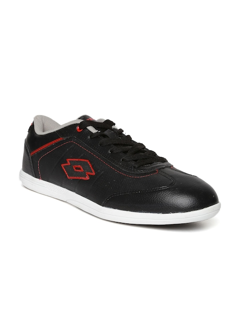 Lotto Men Black Perforated Sports Shoes