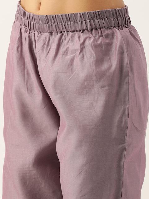 Varanga Women Mauve Zari Yoke Design Chanderi Silk Kurta with Trousers & Dupatta 6