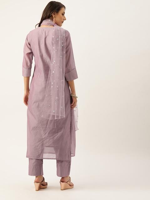 Varanga Women Mauve Zari Yoke Design Chanderi Silk Kurta with Trousers & Dupatta 4