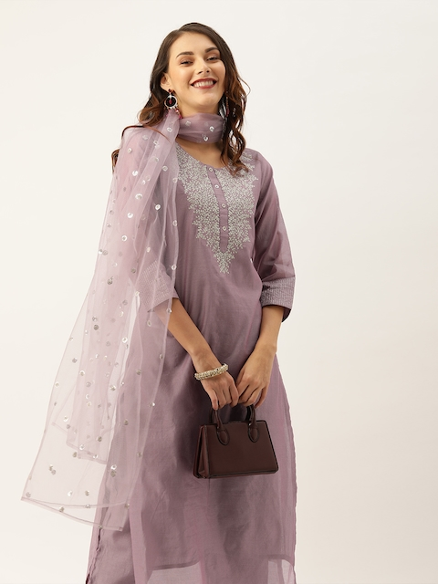 Varanga Women Mauve Zari Yoke Design Chanderi Silk Kurta with Trousers & Dupatta 1