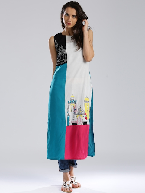 W White & Blue Colourblocked Embroidered Kurta
