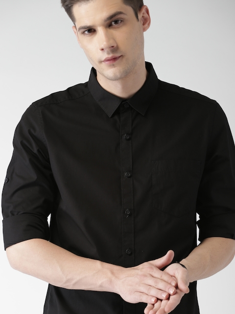 Highlander Black Solid Slim Fit Casual Shirt