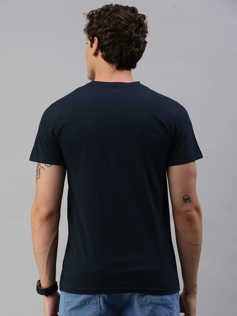 HERE&NOW Men Black Printed Round Neck T-shirt 4
