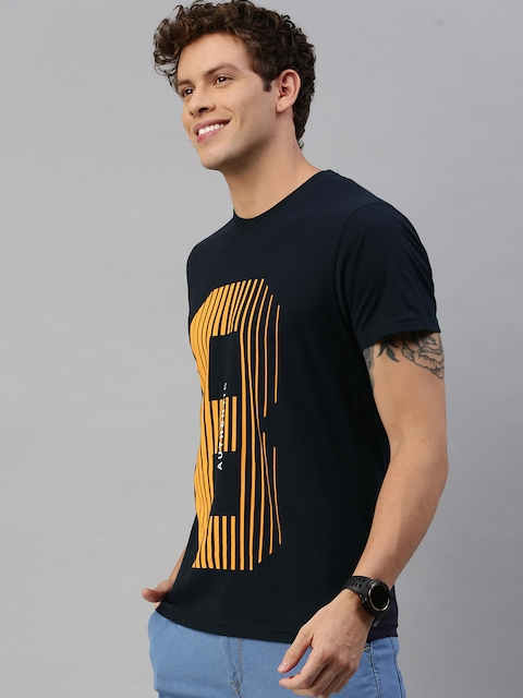 HERE&NOW Men Black Printed Round Neck T-shirt 3