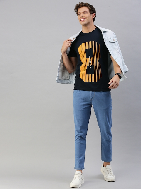 HERE&NOW Men Black Printed Round Neck T-shirt 5