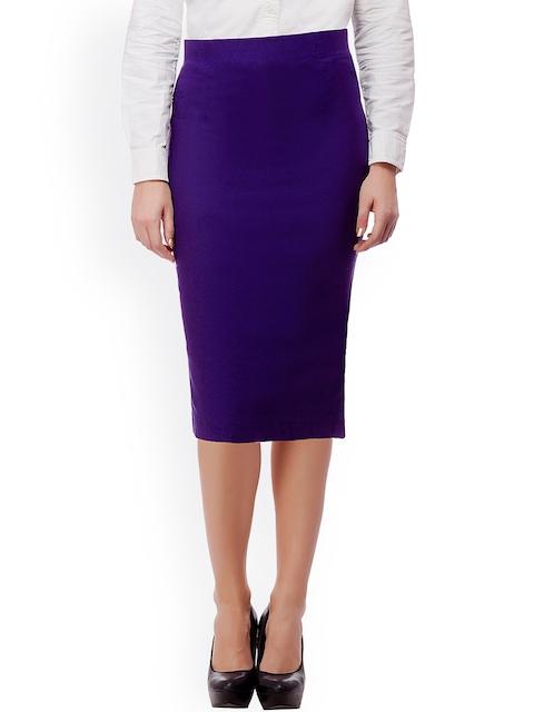 Buy Purple Feather Dark Purple Pencil Skirt - Skirts for Women ...
