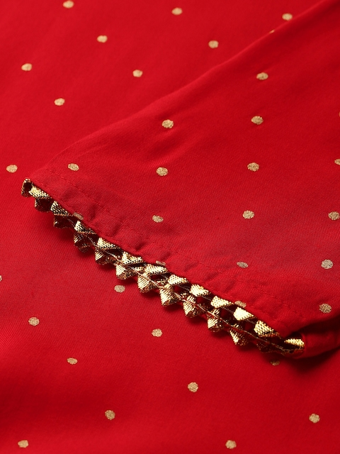 GoSriKi Women Red & Golden Printed Kurta with Trousers & Dupatta 2