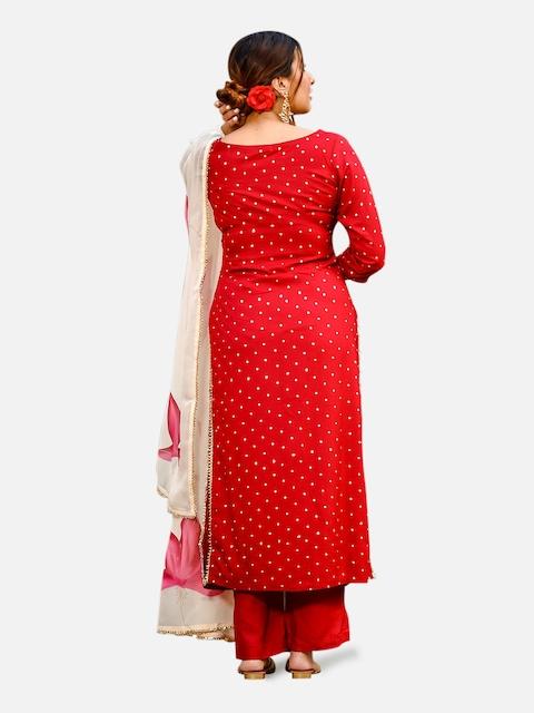 GoSriKi Women Red & Golden Printed Kurta with Trousers & Dupatta 6