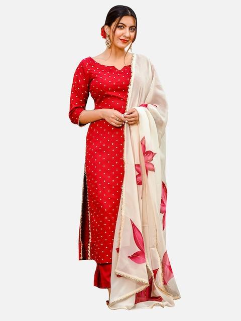 GoSriKi Women Red & Golden Printed Kurta with Trousers & Dupatta 5
