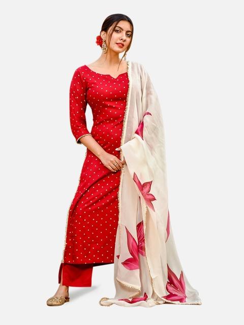GoSriKi Women Red & Golden Printed Kurta with Trousers & Dupatta 7