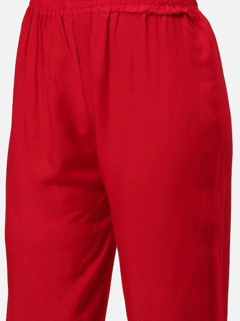 GoSriKi Women Red & Golden Printed Kurta with Trousers & Dupatta 3