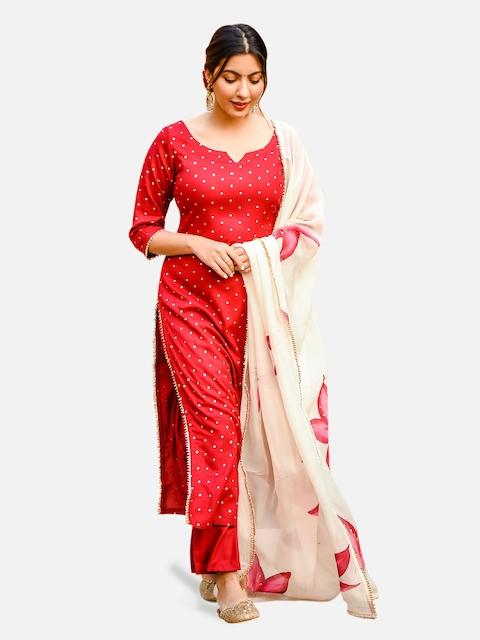 GoSriKi Women Red & Golden Printed Kurta with Trousers & Dupatta 1