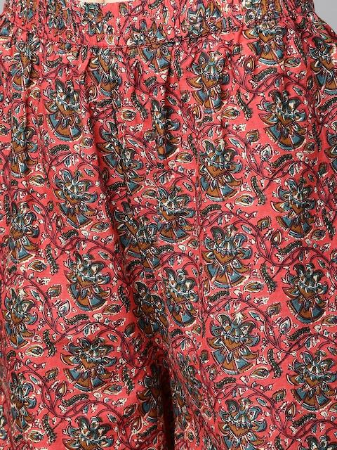 mokshi Women Coral Pink & Teal Blye Printed Kurta with Palazzos 3