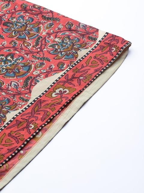 mokshi Women Coral Pink & Teal Blye Printed Kurta with Palazzos 7