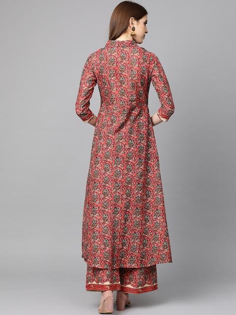 mokshi Women Coral Pink & Teal Blye Printed Kurta with Palazzos 5