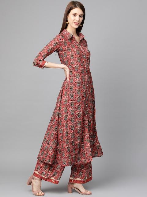 mokshi Women Coral Pink & Teal Blye Printed Kurta with Palazzos 4