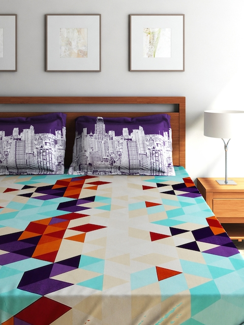 SEJ by Nisha Gupta Multicoloured 350 TC Cotton Double Bedsheet with 2 Pillow Covers