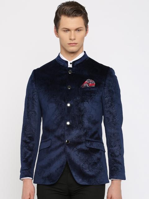 INVICTUS Navy Jacquard Slim Fit Formal Blazer