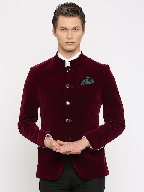INVICTUS Maroon Velvet Slim Fit Formal Blazer