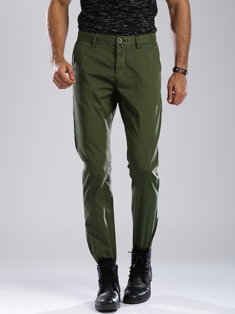 Breakbounce Olive Green Slim Fit Chino Trousers
